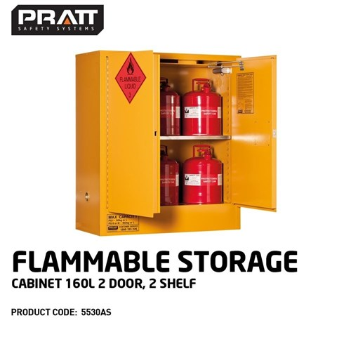 PRATT Flammable Storage Cabinet 160L 2 Door, 2 Shelf