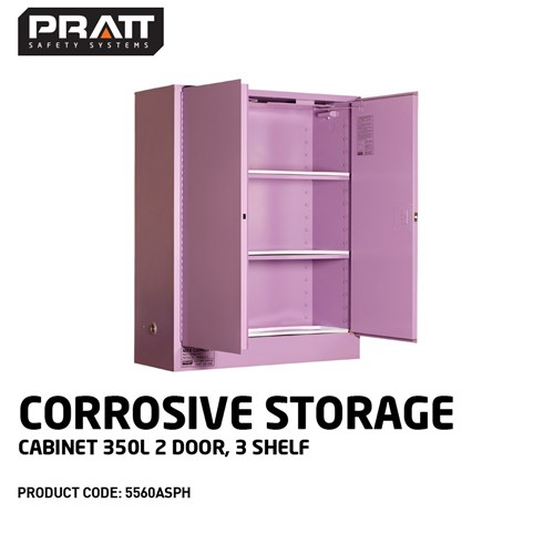 PRATT Corrosive Storage Cabinet 350L 2 Door, 3 Shelf