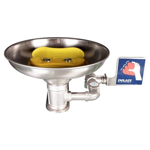 Wall Mounted Triple Nozzle Eye & Face Wash With Bowl. No Foot Treadle