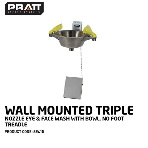 PRATT Wall Mounted Triple Nozzle Eye & Face Wash With Bowl & Foot Treadle