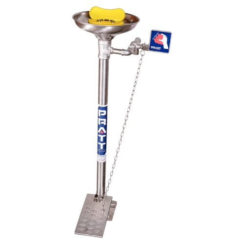 PRATT Pedestal Mounted Triple Nozzle Eye & Face Wash With Bowl & Foot Treadle